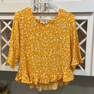 Mustard and white floral top
